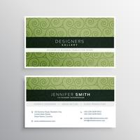 modern business card with green swirl pattern