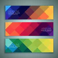 abstract geometrical shapes banners template set of three