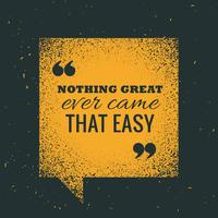 "yellow grunge chat bubble with motivational quotation ""nothing g"