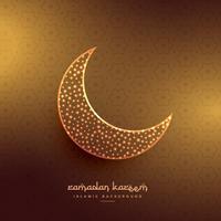 Hermoso diseño de luna en fondo dorado