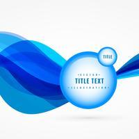 blauwe golf abstracte achtergrond met label vector