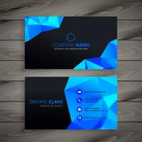 dark low poly business card template vector design illustration