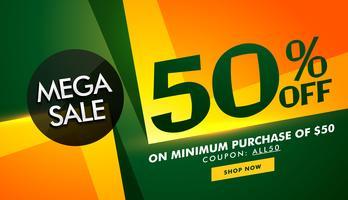 Diseño de banner de venta elegante con detalles de oferta para promoción.