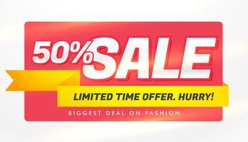 Plantilla de banner de venta con detalles de ofertas y descuentos.