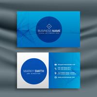 blue business card template with abstract wire mesh shape