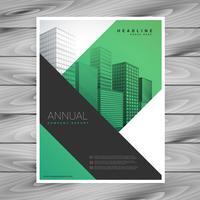Folheto de brochura de negócios verde abstrato com formas geométricas