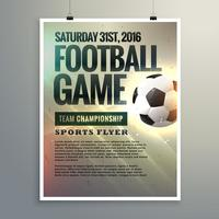 Diseño de flyer de evento de fútbol con detalles del torneo.