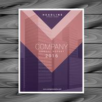 plantilla de diseño de folleto de negocio de estilo de flecha rosa púrpura