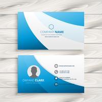 blue wave clean business card vector design illustration