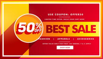 Beste verkoopbanner en verkoopbonontwerp voor merkpromotie