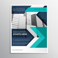 zakelijke brochure sjabloonontwerp in blauwe kleur