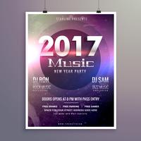 2017 music party flyer template with colorful lights on a textur