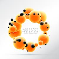 bright orange molecules shape 3d sphere frame background