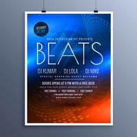 Musik Party Werbung Flyer Vorlage in blauen und orange Farben