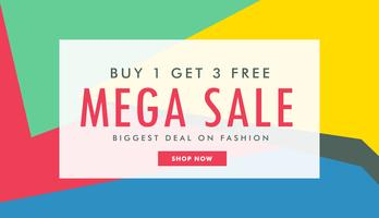 mega sale marketing banner template with abstract colorful shape