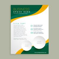 green and yellow wavy shape business brochure flyer layout templ