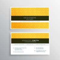 yellow business card with abstract pattern