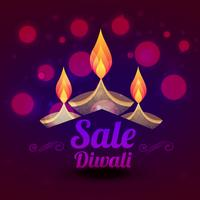 conception de vente de diwali avec illustration vectorielle coloré diya