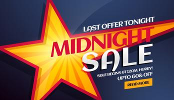 banner de venda da meia-noite com estrela amarela no fundo
