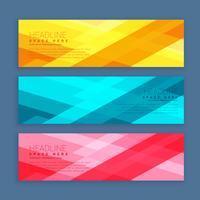Conjunto de tres banners diseñados con formas geométricas en colores brillantes.
