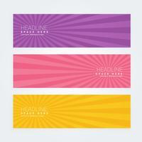 set van drie abstracte banners met stralen