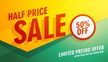 design de modelo de banner, cartaz ou folheto de venda de metade do preço