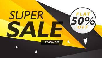 super verkoop gele en zwarte voucher ontwerpsjabloon