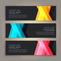 dark theme abstract banners set