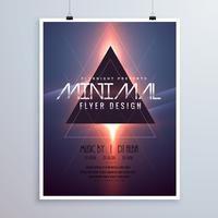 Diseño de plantilla de flyer de tema de espacio mínimo con efecto de luz brillante