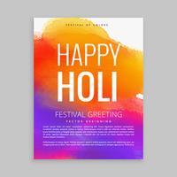 feliz cartel de holi con tinta colorida