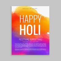 happy holi poster with colorful ink