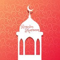 diseño de la mezquita en el hermoso fondo floral