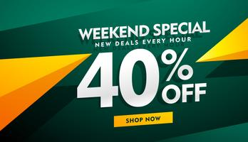 Diseño de banner de venta especial de fin de semana en color verde y amarillo.