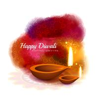 happy diwali colorful design with diya in watercolor style vecto