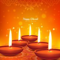 glücklich Diwali Vektor Diya Design schönen Hintergrund