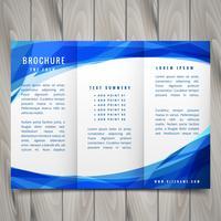 estilo de onda azul com três dobras brochura vector design