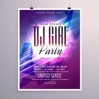 beautiful party flyer template with colorful glowing background