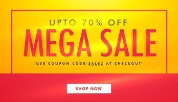 Diseño de plantilla de banner de venta mega en color amarillo y rojo