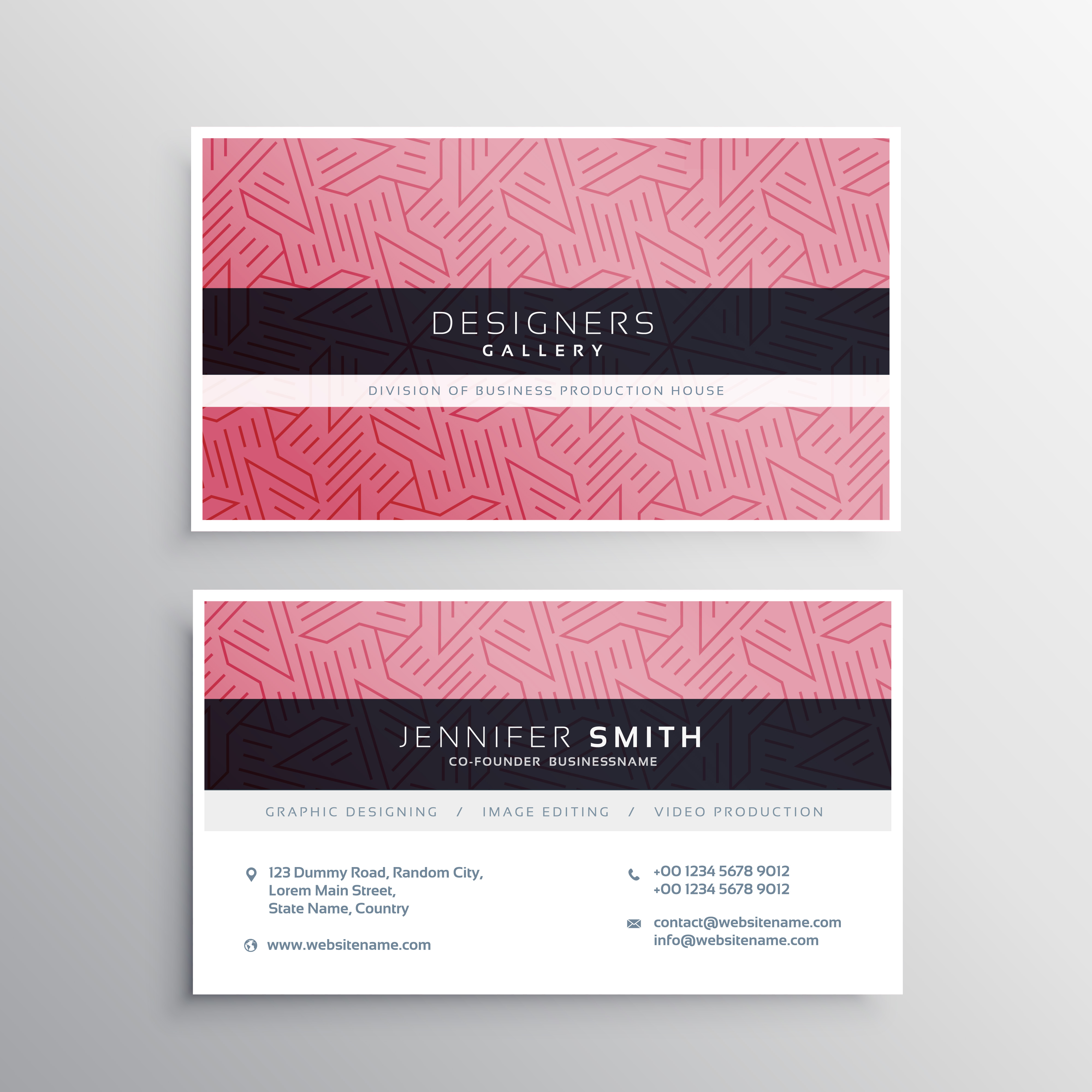 pink business card template stationery with abstract lines patte ...
