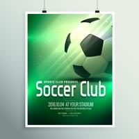 Häftigt sportar reklamblad affischdesign mall med fotboll i gre