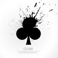 clubs shapes with ink splatter