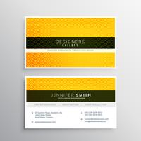 company business card design with yellow wavy shape