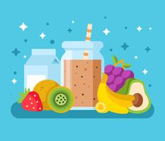 Fresh Smoothie With Ingredients Vector