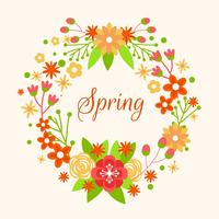 Spring Wreath With Flower Vector