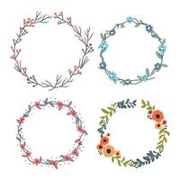 Colorful Floral Spring Wreaths vector