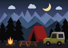 Vettore di campeggio di notte
