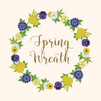 Flat Floral Spring Wreath Vector Illustration