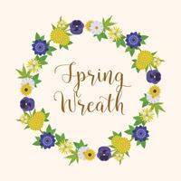 Ilustración de Vector de corona floral primavera plana