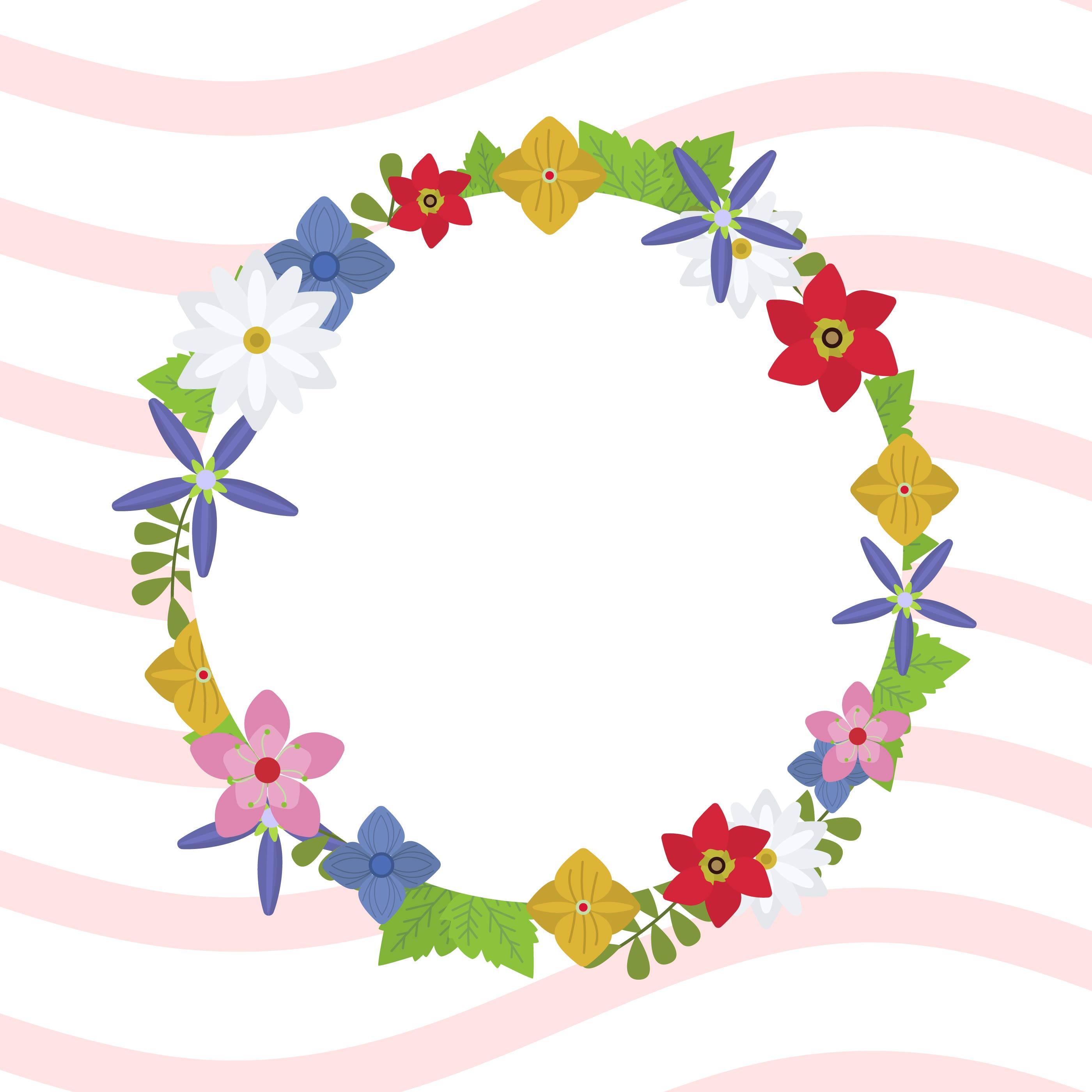 Flat Spring Wreath Vector Illustration