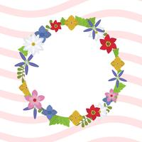 Flat Spring Wreath Vector Illustration